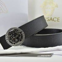 Versace Fashion Smooth Buckle Belt Leather Belt-8