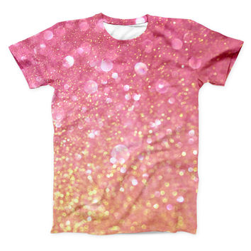 The Glowing Pink and Gold Orbs of Light ink-Fuzed Unisex All Over Full-Printed Fitted Tee Shirt
