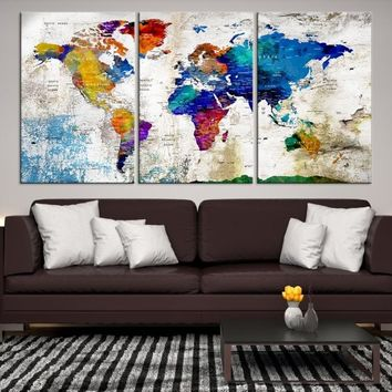 78188 - Large Wall Art Push Pin World Map, Push Pin, World Map, Wall Art Canvas, Push Pin Map, Navy Blue Wall Art, Pushpin World Map Print,