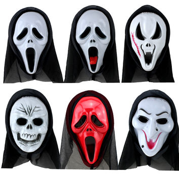 19styles Halloween Scary Mask Funny Full Face Masquerade Dress Up Party Skull Ghost Scream Mask PVC  Costume Supplies 50pcs/lot