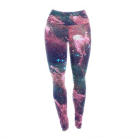 Cotton Candy Space Yoga Exercise Leggings