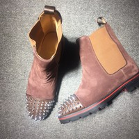 KUYOU Christian Louboutin red sole classic rivet shose Roller Boat CL classic Boots