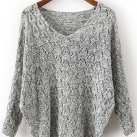Grey V Neck Long Sleeve Hollow Sweater - Sheinside.com