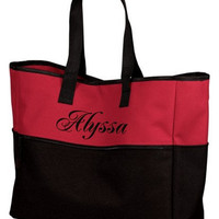Large Summer Beach Tote Bag Monogrammed Personalized Embroidered
