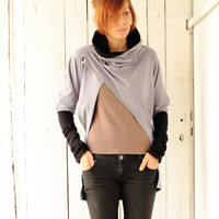Cowl neck sweatshirt, open front (B032N1)