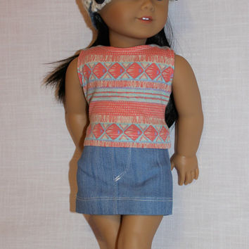 3 piece set! 18 inch doll clothes, geometric print tank top, denim mini skirt, ivory bill hat, american girl, maplelea