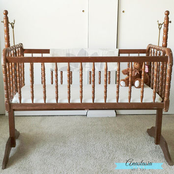 CUSTOM** Vintage Jenny Lind Swinging Cradle/Bassinet with Stand