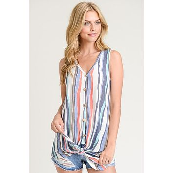 Water Color Striped Tie Top - Coral and Blue