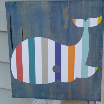 Whale nursey themed decor nautical nursery decor blue beach house decor