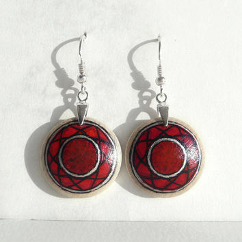 Eco- Friendly Round, Red Earrrings, Wooden Earrings, Sterling Silver Earring, Red Jewelry, Wood Craft, Hand Painted Earring, Drop Earring