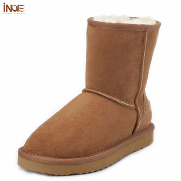 INOE sheepskin leather suede winter snow boots for women real sheep fur wool lined winter shoes high quality brown black 35-44