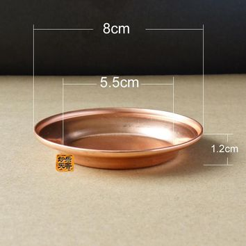 8CM copper plate, debris disk, Mini bonsai flower pot tray, metal crafts, gardening decorations