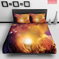 Red Galaxy Nebula Cloud Bedding Sets Home Gift Home & Living Wedding Gifts Wedding Idea Twin Full Queen King Quilt Cover Duvet Cover Flat Sheet Pillowcase Pillow Cover 053