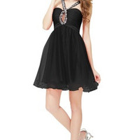 Jewel Neckline Drilled Bubble Black Homecoming Dress