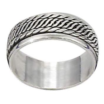 Sterling Silver Bali Twin Edge Rope Center Mens Spinner Ring