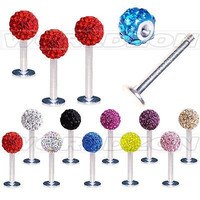 Free Shipping 5mm Crystal Ball Lip Stud Labret Tragus Ring Bar Body Piercing Gift 1.2x10/8/6mm 2015 New Arrival Promotion