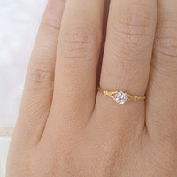 SALE!! Crystal tiny ring, gold clear quartz ring, gemstone ring, stacking ring, engagement ring, aprol birthstone