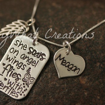 "Angel/Loss/Remembrance Hand Stamped Necklace Sterling Silver ""she soars on angel wings & flies with butterflies"""
