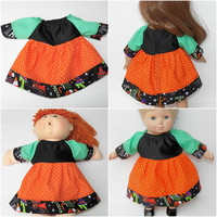"Cabbage Patch 16"" KIDS or Bitty Baby 15"" doll or 18"" clothes,  orange black green halloween dress, adorabledolldesigns handmade"