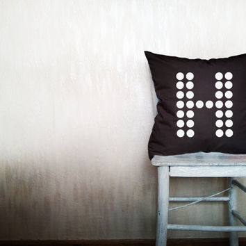 Custom monogram pillow decorative throw pillow polka dots pillow cover black cotton toss letter pillow case rustic 18x18 inches