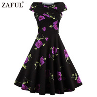 ZAFUL Women plus size clothing Audrey hepburn 50s Vintage robe Rockabilly Dress Summer style Retro Swing Casual print Vestidos