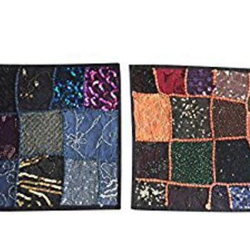 "Designer Throw Pillow Sham Black Vintage Sequin Patchwork Cotton Cushion Covers 16""x16"""