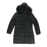 DKNY Womens Sarah Quilted Faux Fur Puffer Coat