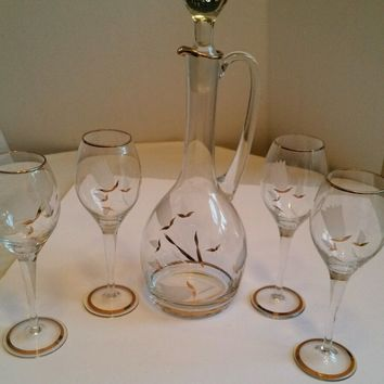Vintage  Etch Glass with Gold Decanter and 4 Matching Wine Glasses