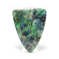 Chrome Green Fuchsite Mica with blue Kyanite Triangle Stone Cabochon Connoisseur's Choice Russian Gemstone