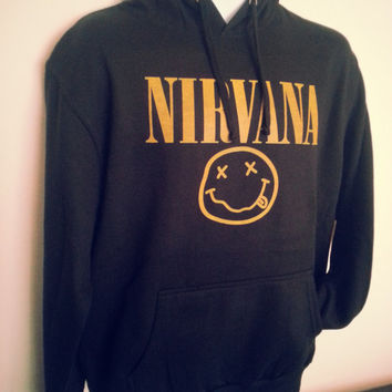 NIRVANA Smiley Face printed Black Hooded Sweat all sizes