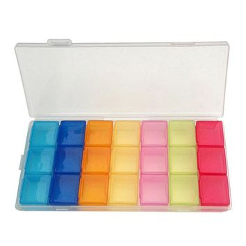 PP (non-toxic) Colorful 21 Compartment Lid Tablet Box Case Organizer Week Storage Holder Case For Medicine Drug Pill Case GUB#