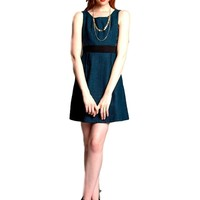 Sleeveless Jacquard Dress, Teal