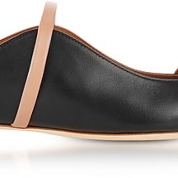 Malone Souliers Maureen Black and Nude Nappa Leather Flat Mules