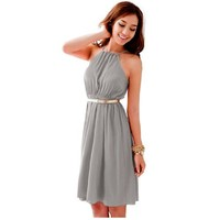Women Halter Neck Self Tie Strap Elastic Waist Full Lined Sexy Dress