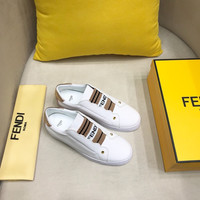 FENDI White Leather Slip-ons Sneakers