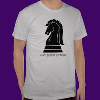 One Wild Knight Black Chess Piece Horse T-Shirt from Zazzle.com