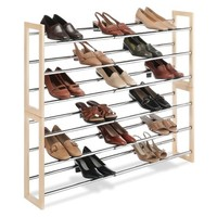 Whitmor Wood & Chrome Shoe Rack Chrome/Natural
