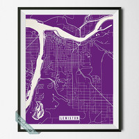 Lewiston Print, Idaho Poster, Lewiston Poster, Lewiston Map, Idaho Print, Street Map, Idaho Map, Home Decor, Wall Art