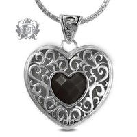 Metalsmiths Sterling silver 3.40ct black onyx scrolled heart pendant
