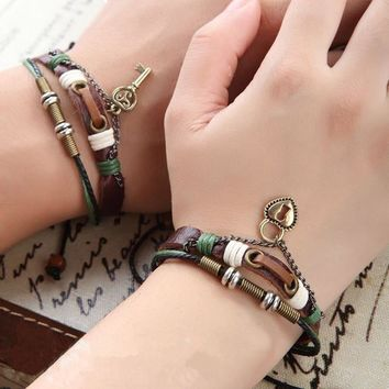 New 2 pcs His & Hers Lovers Key Braclet Bangles Lock and Key Couples Leather Bracelet Friendship Hot Man Women CMQ9068