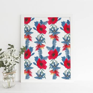 Boho Floral Wildflower Art Print