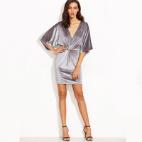 Knotted Half Sleeve Bodycon Dress