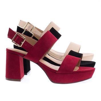 Camile04S By Bamboo Retro Chunky Low Block Heel Platform Sandal w Sling Back Buckle