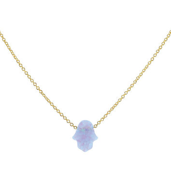 Synthetic Opal Small Hamsa Necklace - Light Blue