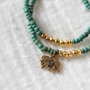 Gold Elephant Stretch Bracelet