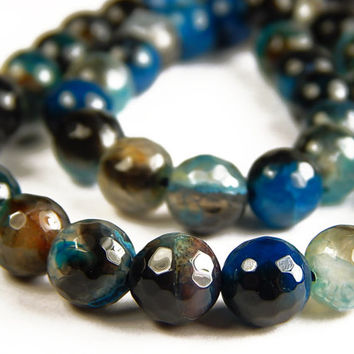 15 Inch Strand - 8mm Faceted Multicolor Agate Beads - Prussian Blue - Gemstone Beads - Jewelry Supplies