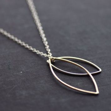 Gold and Sterling Leaves on Long Sterling Chain