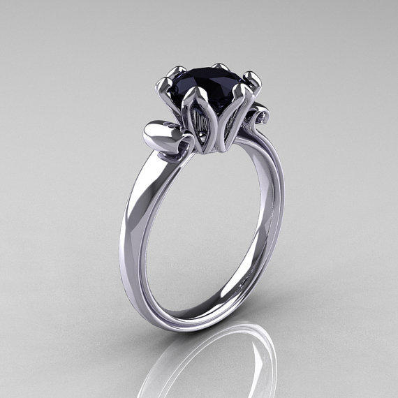 Modern Antique 14K White Gold 1.5 Carat Black Onyx Solitaire Engagement Ring AR127-14WGBO
