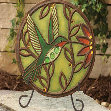Jeweled Hummingbird Garden Stone