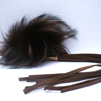 New bag tassel charm brown Raccoon Fur Pom Pom bag pendant with brown tassel